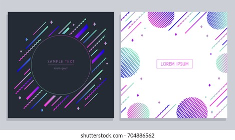 Vector trendy design geometric banners set. Colorful geometric shapes composition. Abstract motion banners