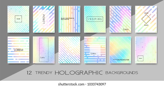 Vector trendy design with holographic colors, modern design collection. Colorful shapes, vibrant texture, hologram gradients, abstract motion for banners, covers, posters, patterns, templates,...