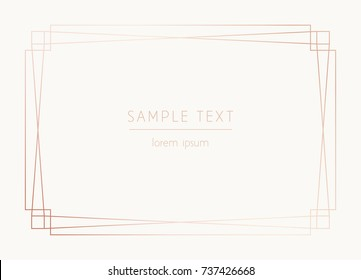 Vector trendy design template for wedding or birthday invitation, brochure, poster or business card. Geometric rose gold pattern