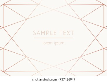 Vector trendy design template for wedding or birthday invitation, brochure, poster or business card. Art Deco geometric rose gold pattern.