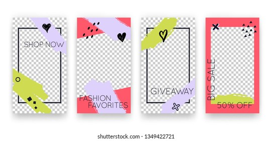 Vector trendy editable set of templates for social media networks stories. Modern design backgrounds for flyers, cards, posters