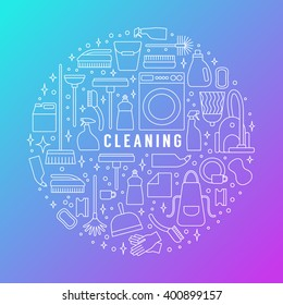 Vector trendy flat cleaning icon set, concept, poster. Vacuum cleaner, protective gloves, plunger, spray bottle,  wipe, squeegee, sponge, bucket, mop, brush, duster and many more.