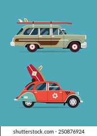 Vector trendy flat design recreational vehicle icons on surf travel with old classic vintage european and american beach surf cars, side view, isolated