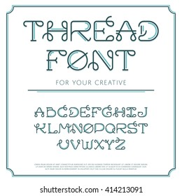 Vector trendy flat font with abstract lines. Latin alphabet from A to Z. Beautiful typeface with capital letters. Thread line sign. Creative curved symbols. EPS monograms.