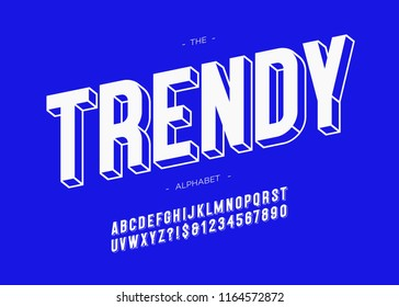 Vector trendy font 3d bold typography sans serif style for poster, decoration, promotion, book, t shirt, sale banner, printing on fabric. Cool typeface. Modern alphabet. 10 eps
