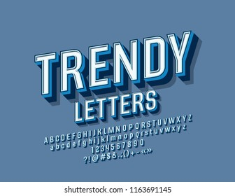 Vector Trendy Font. Set of Retro 3D Letters, Numbers and Symbols.