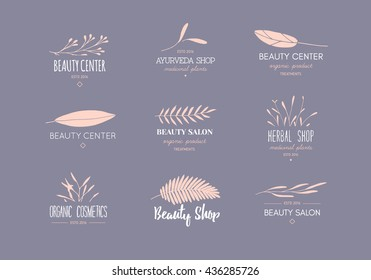 Vector trendy hand drawn beauty, organic cosmetics, alternative medicine, homeopathy logos, badges, emblems, logotypes. Big collection of elegant plant, floral logos.