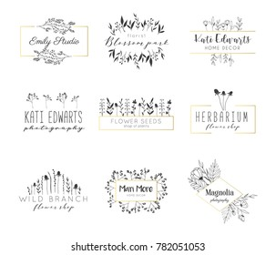Vector trendy hand drawn beauty, florist, photography, wedding logos, badges, emblems, logotypes. Big collection of elegant plant, floral logos.