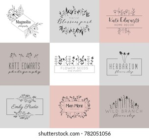 Vector trendy hand drawn beauty, florist, photography, badges, emblems, logotypes. Big collection of elegant plant, floral logos.