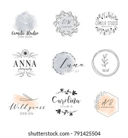Vector trendy hand drawn beauty, organic cosmetics, florist, photography, wedding logos, badges, emblems, logotypes. Big collection of elegant plant, floral logos.