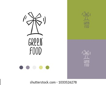 Vector trendy hand drawn icon and logo of windmill and lettering 'green food'. Template for business brand. Editable color combination. Ready color scheme