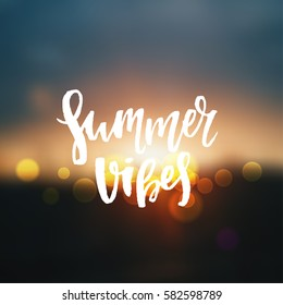 """Vector trendy hand lettering poster. Hand drawn calligraphy """"summer vibes"""""""