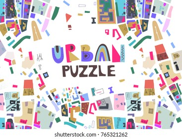 "Vector trendy horizontal poster with colorful map fragments and text ""Urban Puzzle""."