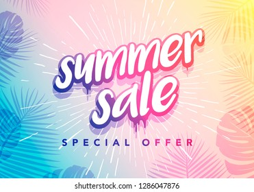 Vector Trendy Hot Summer Sale Banner.  Season Holiday Time Wallpaper. Happy Modern Fashionable Styling Lettering.