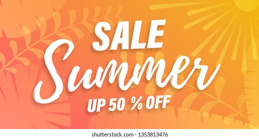 Vector Trendy Hot Summer Sale Banner. Palm tree leaves with stipple effect at colorful sunset gradient. Summer time background. Green plants, exotic leaves, banana leaf, areca palm, botany, flora.