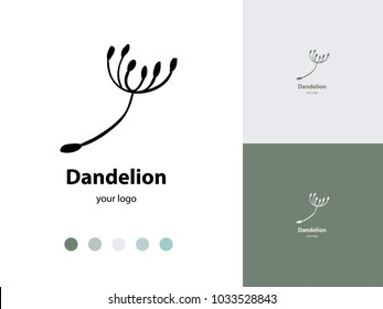 Vector trendy icon and logo of dandelion seed for studio, cosmetics, fashion. Template for business brand. Editable color combination. Ready color scheme