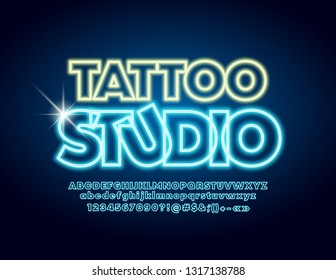 Vector trendy label Tattoo Studio with neon glowing Font. Blue lighting Alphabet Letters, Numbers and Symbols