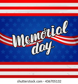 """Vector trendy lettering poster. Hand drawn calligraphy. concept handwritten poster. """"Memorial Day"""" creative graphic template brush fonts"""