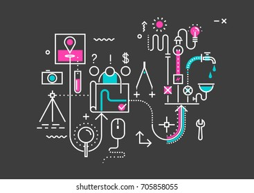 Vector trendy line abstract process illustration of engineering network design, installation of communications: water supply, sewerage, electricity, heating. Concept for website header banner layout.