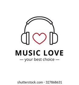 Vector trendy line style music store logo. Headphones and heart logotype.