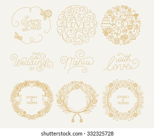 Vector trendy linear frame with copy space for text - wedding invitation design template - decorative background for greeting card in mono line style