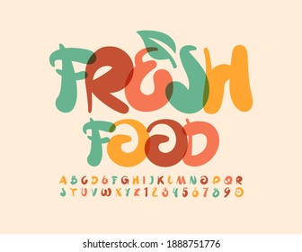Vector trendy logo Fresh Food with Decorative Leaf. Creative artistic Font. Handwritten Alphabet Letters and Numbers set