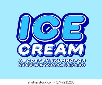 Vector trendy logo Ice Cream with White and Blue Font. 3D Modern Alphabet Letters and Numbers