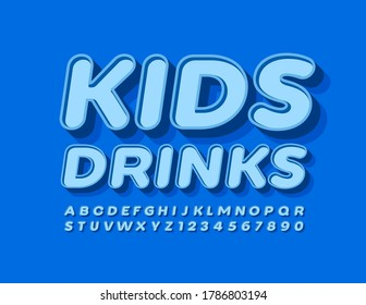 Vector trendy logo Kids Drink. Blue 3D Font. Modern Alphabet Letters and Numbers