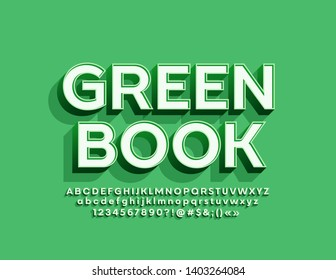 Vector trendy logotype Green Book with 3D retro Font. Isometric Alphabet Letters, Numbers and Symbols with shadow