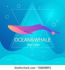 Vector trendy marine logo in triangular frame of a whale in deep water ocean or sea in modern gradient colors and glow. Can be used for sea store, ocean products, eco company, camp or business