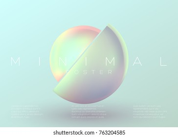 Vector Trendy Minimal Poster. Pastel Vibrant Background with Futuristic 3D Shape. Creative Minimalist Template for Interior Poster, Flyer, Music Cover, Wallpaper, Banner, Placard. Neon Colors.