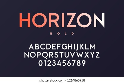 Vector trendy minimal sans serif bold font design, alphabet, typeface, letters and numbers.