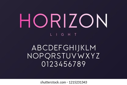 Vector trendy minimal sans serif light font design, alphabet, typeface, letters and numbers.