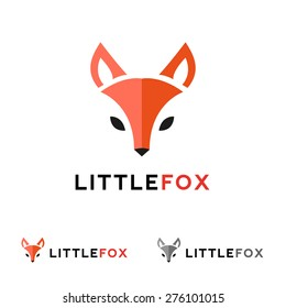 Vector trendy minimalistic red fox head logo in flat style
