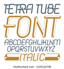Vector trendy modern capital, uppercase English alphabet letters collection. Unlike italic type font, script from a to z can be used for logo creation. Made using geometric tetra tube design.
