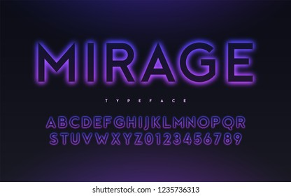 Vector trendy neon light or eclipse style glowing font design, alphabet, typeface, letters and numbers. Swatch color control