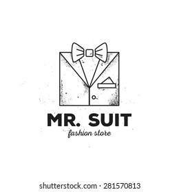 Vector trendy outline man suit logo with old style grunge effect. Hipster suit with bow-tie logotype.