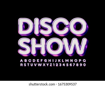 Vector trendy poster Disco Show. White and Purple Metallic Font. Chic Alphabet Letters and Numbers