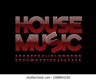 Vector trendy poster House Music. Red abstract Font. Bright Alphabet Letters and Numbers