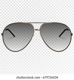 Vector trendy realistic black eye glasses. Modern sunglasses isolated on transparent background. Transparency effect for any background color. Illustration template - for your design.