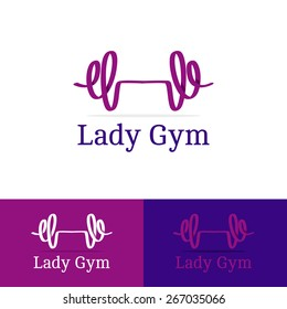 Vector trendy ribbon dumb-bell lady gym logotype. Modern logo in overlapping technique