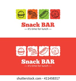Vector trendy snack bar logo in doodle style. Sketchy cafe logo