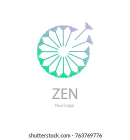 Vector trendy transparent purple green icon and logo on a white background of blowing dandelion seeds flower for spa massage studio, cosmetics, fashion. Template for business brand
