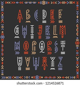 Vector trendy underlined alphabet in ethnic line art style. For hipster design, music posters.