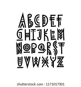 Vector trendy uppercase alphabet in ethnic style made of bold lines.