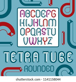 Vector trendy vintage capital English alphabet letters collection. Funky rounded font, typescript can be used in art creation. Created with carton tube style, trigonometry design.