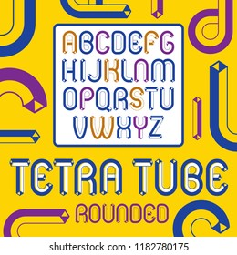 Vector trendy vintage capital English alphabet letters collection. Funky rounded font, typescript can be used in art creation. Made using geometric tetra tube design.