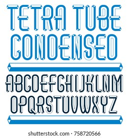 Vector trendy vintage capital English alphabet letters collection. Special condensed type font, script from a to z best for use in logotype creation. Made with carton tube style, trigonometry design.