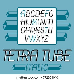 Vector trendy vintage capital English alphabet letters collection. Funky italic font, typescript can be used in art creation. Created using dimensional tetra pipe.