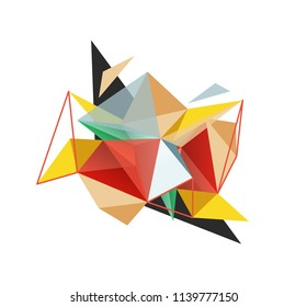 Vector triangle abstract background with wire triangular elements, low poly concept, minimal modern illustration